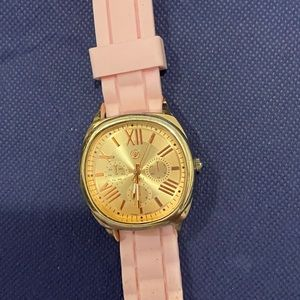 Women's watch pink band rose gold face